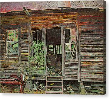 Old Abandoned House - Ghost Dogs Trotting Canvas Print by Rebecca Korpita
