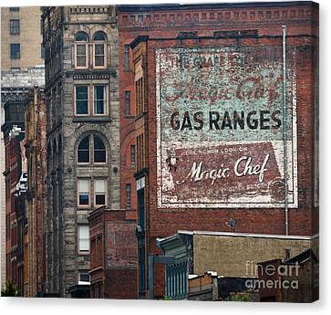 Old Advertisement On A Building In Pittsburgh Pennsylvania Canvas Print by Amy Cicconi