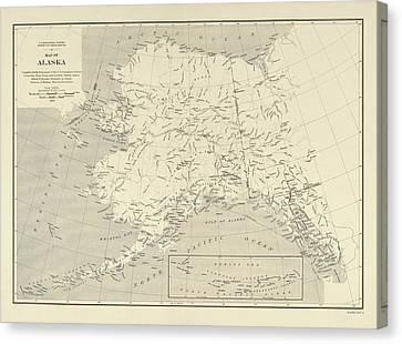Alaska Map Canvas Prints Fine Art America - Us map alaska