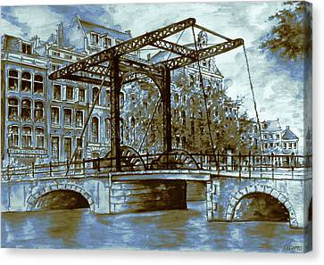 Old Amsterdam Bridge - Blue Water Color Canvas Print by Art America Gallery Peter Potter