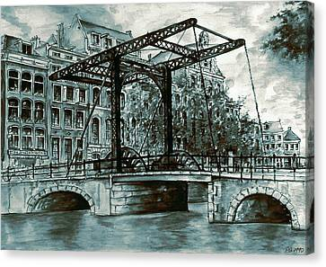 Old Amsterdam Bridge In Dutch Blue Water Colors Canvas Print