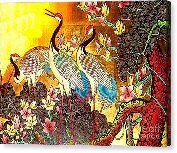 Old Ancient Chinese Screen Painting - Cranes Canvas Print by Merton Allen