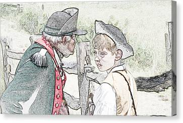 Colonial Man Canvas Print - Old And Young by Robert Nelson