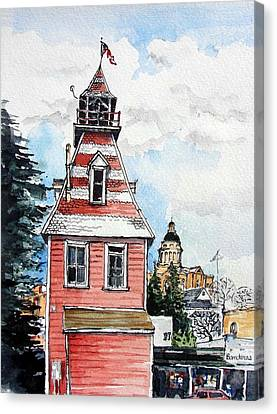 Canvas Print featuring the painting Old Auburn Firehouse by Terry Banderas
