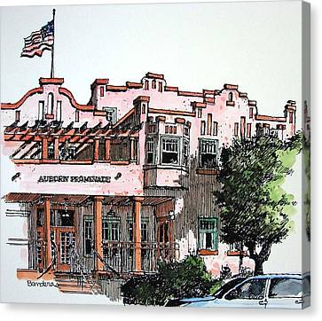 Canvas Print featuring the painting Old Auburn Hotel by Terry Banderas