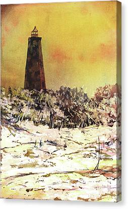 Canvas Print featuring the painting Old Baldy Lighthouse- North Carolina by Ryan Fox