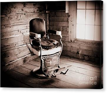 Old Barber Chair Canvas Print by Krista Carofano