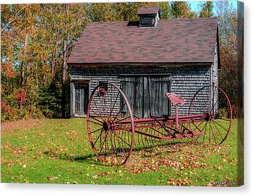 Old Barn And Rusty Farm Implement 02 Canvas Print by Ken Morris