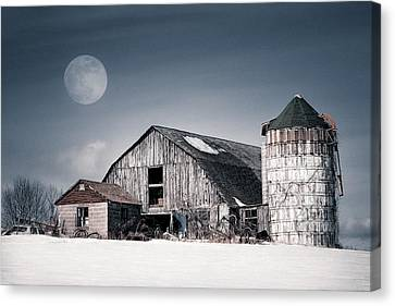 Old Barn And Winter Moon - Snowy Rustic Landscape Canvas Print by Gary Heller