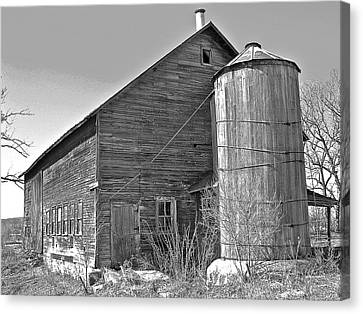 Old Barn And Wood Stave Silo Canvas Print by Randy Rosenberger
