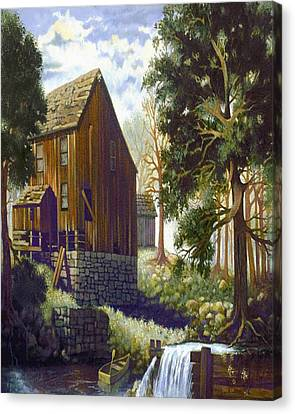Old Barn At Riverbend Canvas Print
