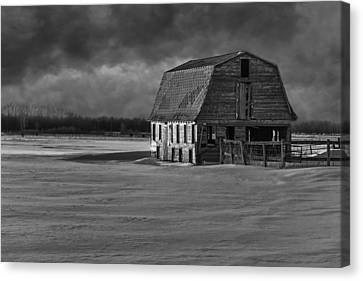 Old Barn At Sunset Black And White 2014-1 Canvas Print by Thomas Young