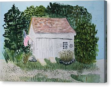 Canvas Print featuring the painting Old Barn In Eastham Ma by Donna Walsh