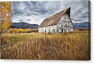 Old Barn In Steamboat,co Canvas Print by James Steele