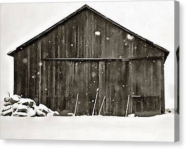 Old Barns Canvas Print - Old Barn In Winter by Dan Sproul
