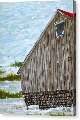 Old Barn In Winter Canvas Print by Norman F Jackson