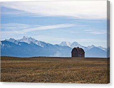 Old Barn, Mission Mountains Canvas Print