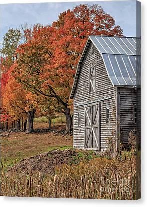 Farming Barns Canvas Print - Old Barn With New England Foliage by Edward Fielding