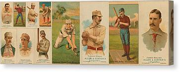 Old Baseball Cards Collage Canvas Print