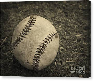 Base Ball Canvas Print - Old Baseball by Edward Fielding