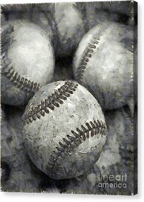 Baseball Canvas Print - Old Baseballs Pencil by Edward Fielding