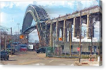 Old Bayonne Bridge Canvas Print by Rod Pena