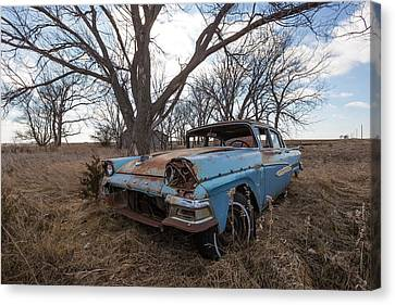 Canvas Print featuring the photograph Old Blue by Aaron J Groen