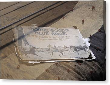Canvas Print featuring the photograph Old Blue Book by Viktor Savchenko