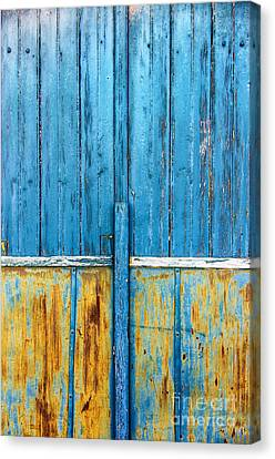 Old Blue Door Detail Canvas Print by Carlos Caetano