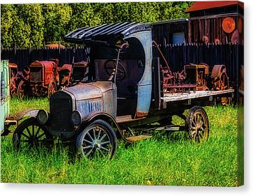 Old Blue Ford Truck Canvas Print by Garry Gay