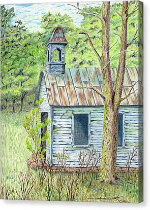 Old School Houses Canvas Print - Old Blue School House by Belinda Keal