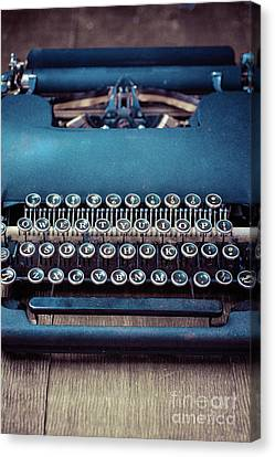 Canvas Print featuring the photograph Old Blue Typewriter by Edward Fielding