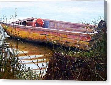 Old Boat At Mcclellandville Canvas Print by Elaine Schulstad