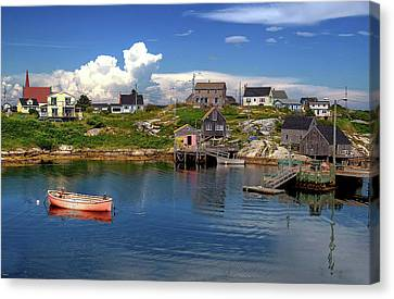 Canvas Print featuring the photograph Old Boat At Peggy's Cove by Rodney Campbell