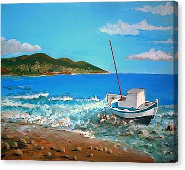 Old Boat At The Beah Canvas Print by Kostas Koutsoukanidis