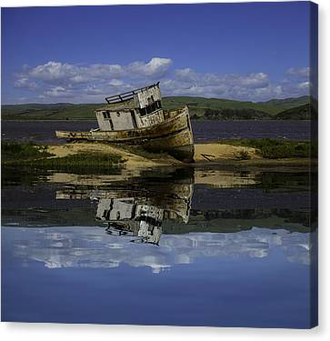 Old Boat Reflection Canvas Print by Garry Gay