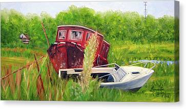 old boats in Belford Canvas Print