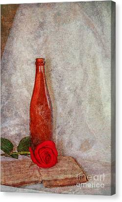 Old Book Bottle And Rose Still Life Canvas Print