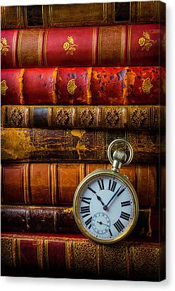 Old Books And Pocket Watch Canvas Print by Garry Gay