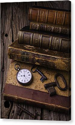 Book Collecting Canvas Print - Old Books And Watch by Garry Gay