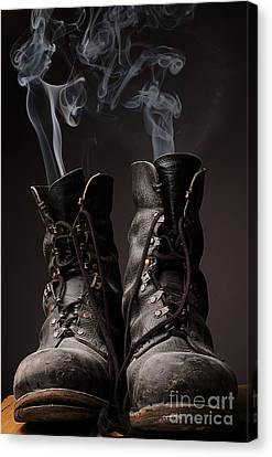 Black Boots Canvas Print - Old Boots With Smoke by Andreas Berheide