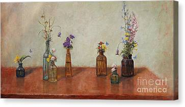 Old Bottles And Wildflowers Canvas Print