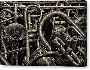 Old Brass Musical Instruments Toned Canvas Print by David Gordon
