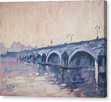 Old Bridge Of Maastricht In Warm Diffuse Autumn Light Canvas Print by Nop Briex