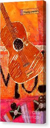 Cardboard Canvas Print - Old Brown Guitar by Angela L Walker