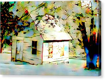 Abandoned Houses Canvas Print - Old Cabin In Snow by Femina Photo Art By Maggie