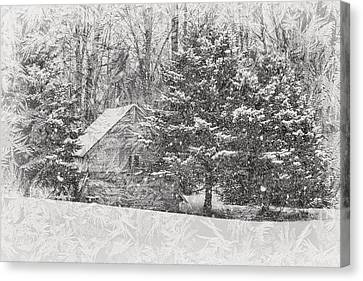 Old Cabin In Winter Canvas Print