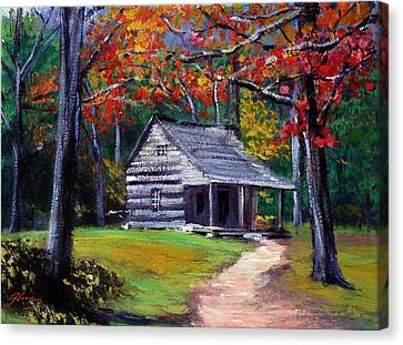 Old Cabin Plein Aire Canvas Print by David Lloyd Glover