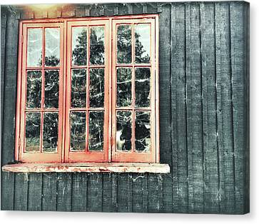 Old Cabin Window Canvas Print by Tom Gowanlock