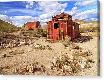 Old Caboose At Rhyolite Canvas Print by James Eddy